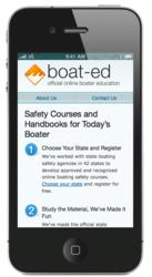 Smartphone featuring boat-ed.com