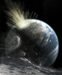 A catastrophic comet impact on Earth likely to wipe out all forms of life.