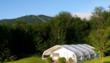 Yoga/fitness tent overlooking the Green Mountains