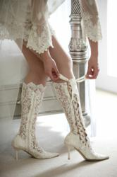 Hand-made lace wedding boots from the U.K. available exclusively in the U.S from AdvantageBridal.com