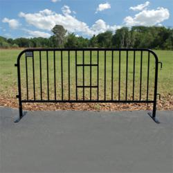 "Heavy Duty Crowd & Traffic Control Barricade. Black Powder Coated Steel - 7.5 ft x 43 inches with detachable feet. Interlocking Steel Barricade with flat feet. 43"" High with frame pipe of 1.5""(O.D.), 16 Gauge, 18 Vertical Risers of 3/4""(O.D.). Powder coated after welding. Easily stackable for storage and transportation. Heavy duty construction with 1.5 inch frame. The black powder coat finish has an attractive appearance. Unique interlock design does not allow inline barricades to be pulled apart by the public (like other barricades), providing a more robust crowd control barrier. The flat foot design is typically used on flat surfaces, where crowds will be walking parallel to the barricades or in proximity to vehicles to minimize trip hazards and damage caused by vehicles running over the bases. Pre-drilled holes in feet allow barricade to be bolted to floor for permanent installation. Built in area for sign attachment for your logo, promotions, directions, or information.