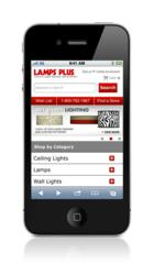 Lamps Plus Mobile Website Homepage Screenshot