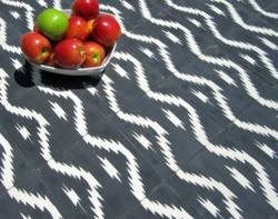 Black and white Ikat wave design on a cement tile