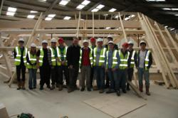 MidKent College students with jhd Architects' Kent roof structure