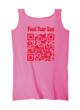 Back view of HipSnacks t-shirt in Azalea Pink with QR code