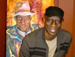 3x Grammy Award Winner, bluesman KebMo and his Spirit Capture oil portrait.