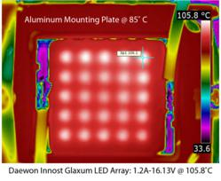 Thermal image of Daewon Innost's Glaxum(TM) module which performs at 0.41°C/Watt