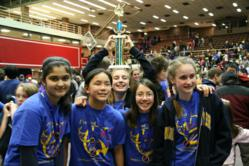 The Andover Middle School Solar Stage Destination Imagination team at the Massachusetts DI State Tournament