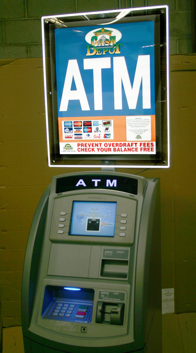 Cash Depot Has Highly Illuminated Atm Lcd Sign Toppers