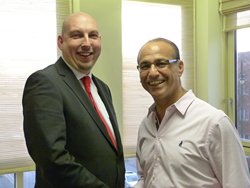 A picture of Chris Wheeler of Metalfrog Studios Limited and Theo Paphitis, BBC Dragon and Chairman of Ryman Group