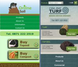 Online Turf and Online Soil new mobile home pages