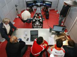 The SYM 026 Formula 1 simulator in use at the Ferrari Drivers Academy, at Vallelunga, Italy