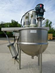 Used 100 Gallon Lee Stainless Steel Jacketed Twin Action Kettle with Homoginizing Mixer