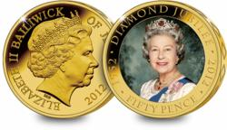 diamond jubilee coin featuring a colour portrait of the queen