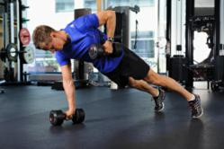 XT50 Fitness dumbbell push up rows  on online workout video.