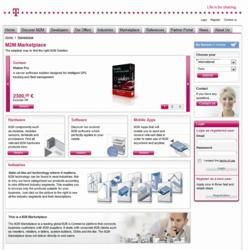 Screenshot of M2M Marketplace landing page from Deutsche Telekom