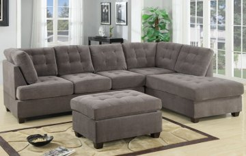 Burbank Charcoal Waffle Suede High Back Sectional Sofa