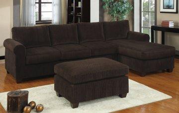 Sunnyvale Chocolate Corduroy Sectional Sofa