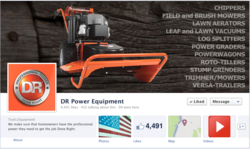 Screenshot of the New DR Power Facebook Page DR Trimmers, Mowers, Log Splitters, Stump Grinders.