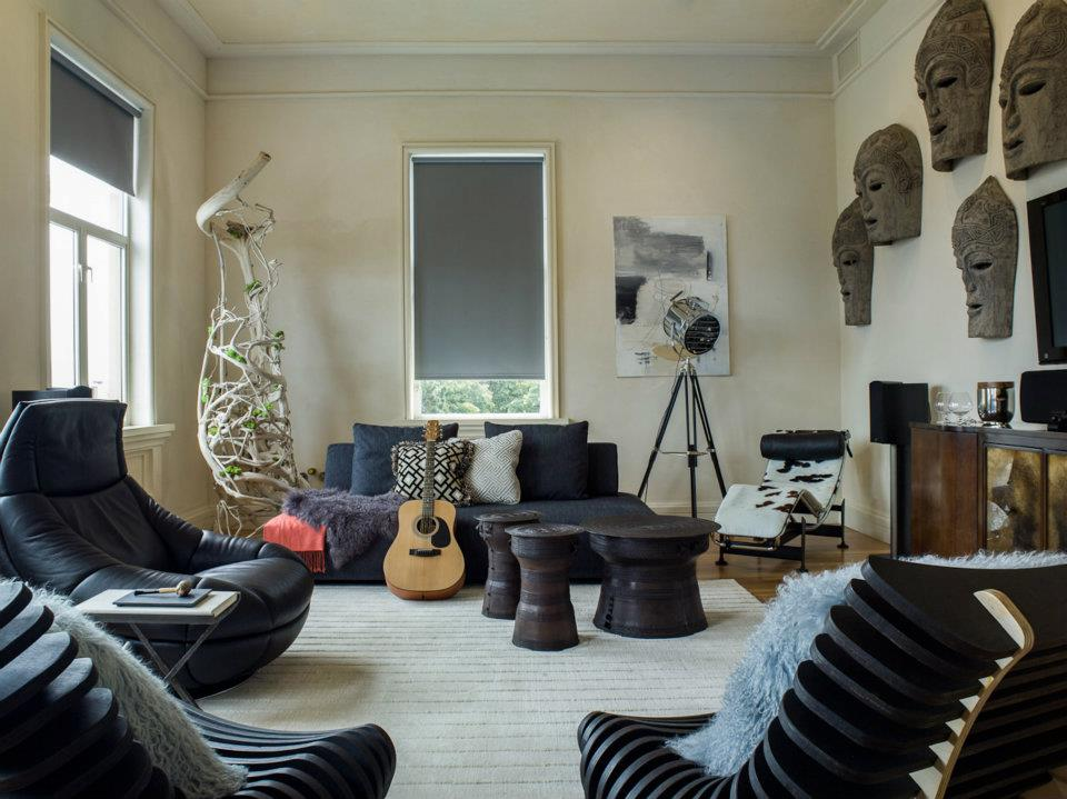 Interior decorator kristina wolf design adds eclectic for Edgy living room ideas