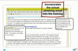 Multi-panel anti-phishing training message incorporates email received