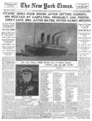 New York Times Front Page April 16, 1912