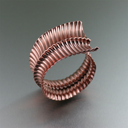 Fold Formed Copper Bangle Bracelet by San Francisco jewelry designer John S Brana