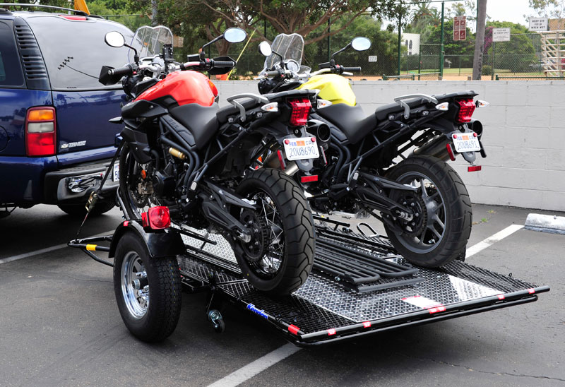 trailer motorcycle dual ride kendon motorcycles trailers srl stand drop designed releases tail newly