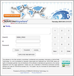 NOVAtime Employee Login and Web Punch page