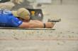 Team FNH USA Shooter and Senior Vice President for FNH USA Commercial Sales, Ken Pfau, demonstrates shooting the FN FNS-9 Competition in prone position at the 2012 NRA Bianchi Cup.