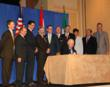 Interior Secretary Salazar (seated) signs the 2012 Revision to NAWMP backed by representatives from DU, USFWS and other conservation partners.