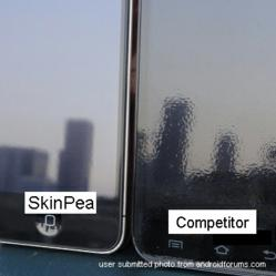 "Actual Androidforums.com user submitted comparison photo of SkinPea (left) and competitor (right) on effect of ""orange peel"""