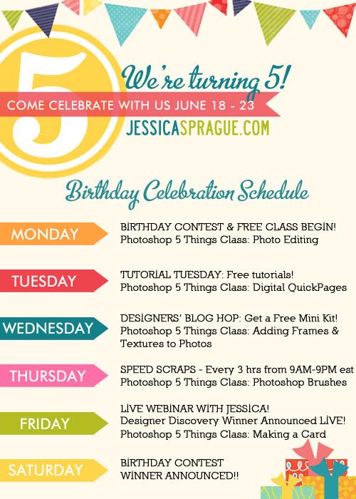 jessicasprague com announces 5th birthday celebration