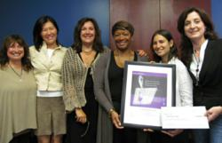 From Left to Right, Cheryl Greenberg, Associate Director of Development and External Affairs; YiShun Lai, Freelance Writer; Nancy Levin, Director of Development and External Affairs; Karen Cheeks-Lomax, Esq., Executive Director; Lauren Pesso, Human Traffi