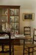 antique table and chairs, reproduction china cabinet