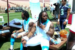 Left to right: Joe Adams (Carolina Panthers), Trent Richardson (Cleveland Browns) and Russell Wilson (Seattle Seahawks)