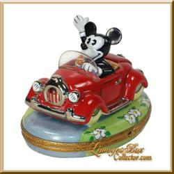 Rare &amp; Retired Walt Disney Mickey Mouse in Red Car Limoges box www.LimogesBoxCollector.com