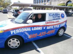 Chris Chavez driving Cash Time Loan Centers vehicle