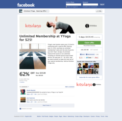 The YYoga offer running in Facebook, powered by Wishpond Social Offers