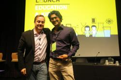 Rajiv Parikh - Head of Product, LearnStreet with Jason Calacanis receiving award for Best Technology at LaunchEDU.
