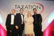 Chris Jones from Lexis Nexis; Dominic Lanaway of PTP (sponsor of the award); Stephanie Parker from Creaseys; and Marcus Brigstocke