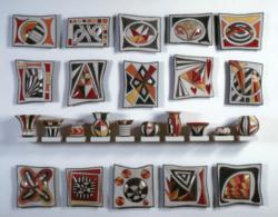 Nina Kellogg Wall Art - Raku Fired Ceramic Tiles and Matching Vessels