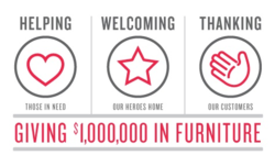 American Signature Furniture will be donating $1 Million in Furniture to those in need through Labor Day.