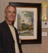 "Luc Herbots and his painting, ""Frederick's Cupola,"" the third place award winner. Courtesy of Harriet Wise Photography"