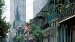 New Orleans French Quarter balconies with St. Louis Cathedral in background