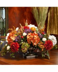 Silk Mums, Hydrangeas & Berries Floral Centerpiece