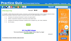 CPCE Exam in True Test Mode on PracticeQuiz.com