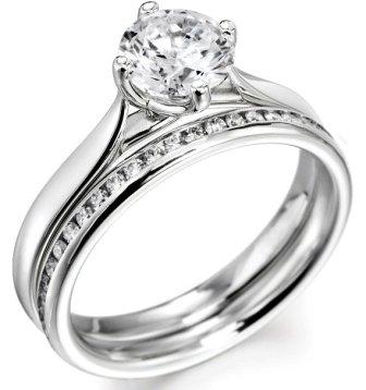 bridal setround cut engagement ring with matching diamond set wedding ring - Engagement And Wedding Ring Set