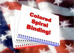 Docucopies now offers spiral binding in red, white, blue and clear.