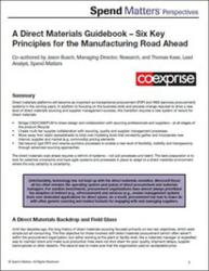 Spend Matters Perspectives research on direct materials sourcing, sponsored by Co-eXprise